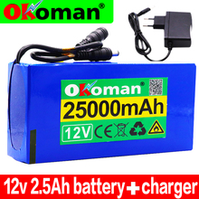 12v 25000mAh lithium-ion Rechargeable battery High Capacity 12.6v 25Ah AC Power Charger With charging indicator+ charger