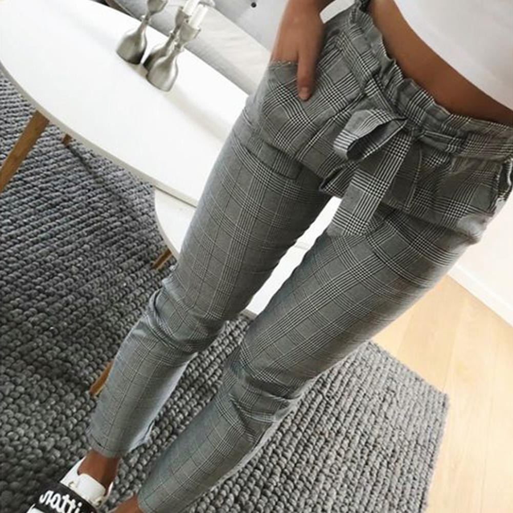 Women Fashion Plaid Pleated High Waist Skinny Pencil Pants Trousers With Sash
