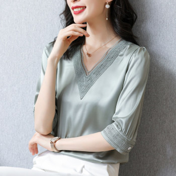 Korean Heavy Silk Women Blouses Shirts Woman Embroidered Satin Blouse Shirt Elegant Women Hollow Out Blouse White Tops Plus Size blouse 1207041 13