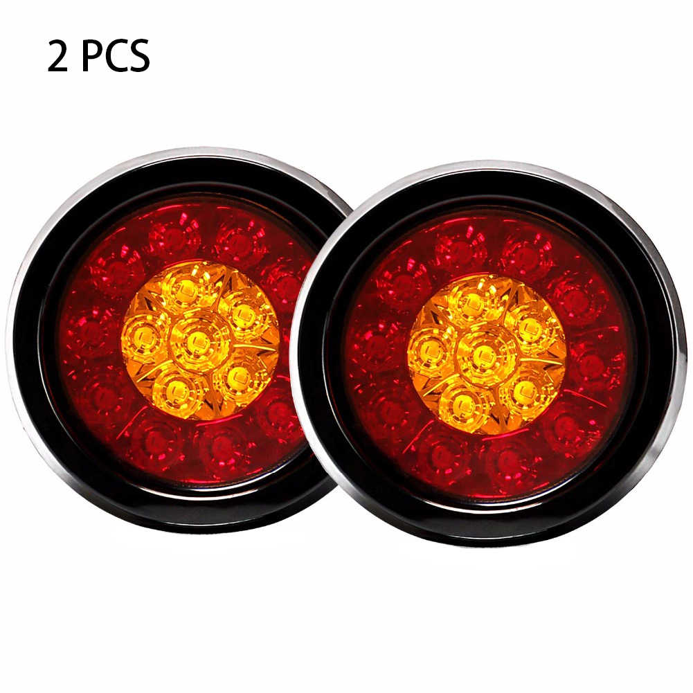 2PCS Lamp 16LED Reverse Trailer RV With Rubber Grommet Brake Universal Tail Light Running Backup Truck 4Inch Round Plastic