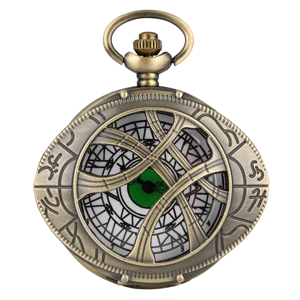 Doctor Who Theme Eye Shape Hunter Quartz Pocket Watch Bronze Creative Necklace Sweater Necklace Chain Pendant Clock Unisex Gift