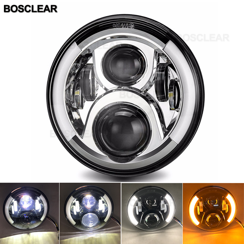 Motorcycle 7 Inch LED Headlight For Touring Ultra Classic Electra Street Glide Road King Yamaha Motorcycle Headlamp Slim Deluxe