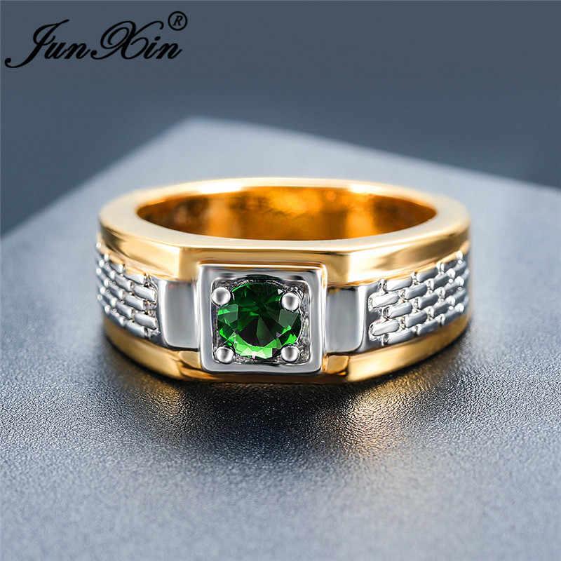 Boho สีเขียวหินคริสตัลแต่งงานแหวนผู้ชาย Silver Gold สีรอบ Zircon สัญญาหมั้นแหวนชาย Vintage เครื่องประดับ