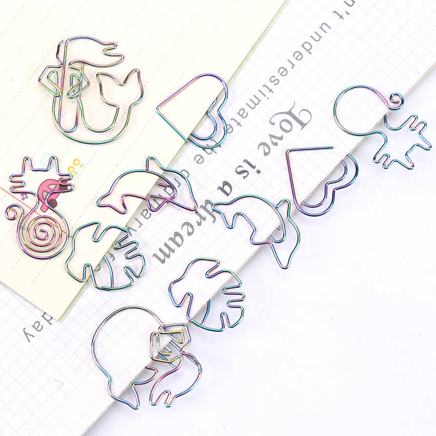 5 Pcs Kartun Hewan Bentuk Logam Klip Kertas Kawaii Stationery Binder Klip Foto Tiket Catatan Huruf Klip Kertas Alat Tulis