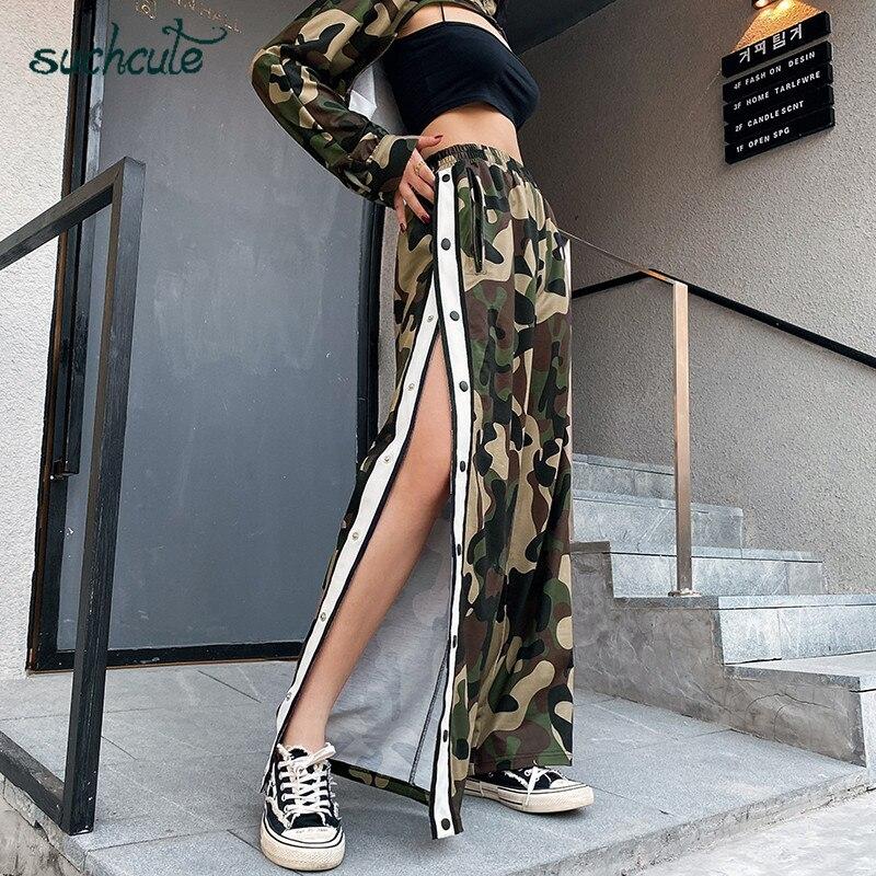 SUCHCUTE Camouflage Women Pants Double Slit 2020 Spring Wide Leg Joggers High Waist Trousers With Button Wild Club Party Capris