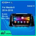 COHO для Mazda 6 2014-2016 Автомобильный мультимедийный плеер радио Automotivo стерео приемник Android 10,0 Octa Core 6 + 128G