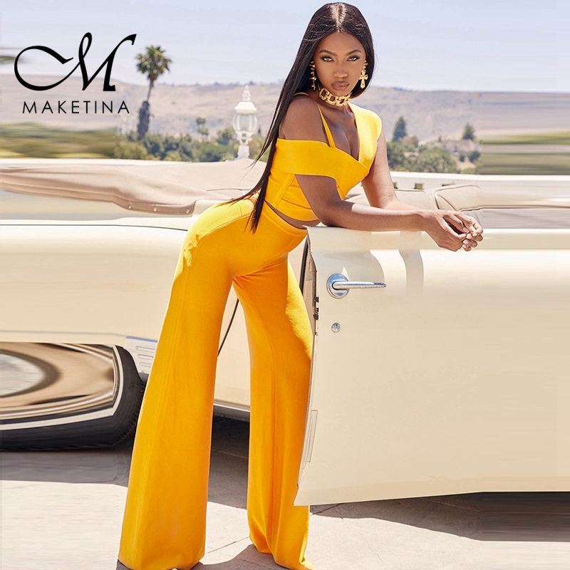 Maketina Two Piece Bandage Set Fall 2019 Women Pant Sets Orange Sexy Panel Cropped Top And Flared Trousers Bodycon Bandage Sets