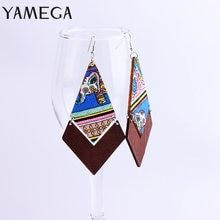 Yamega 2019 Новая мода Длинные Ромб деревянный серьги с обтянутыми