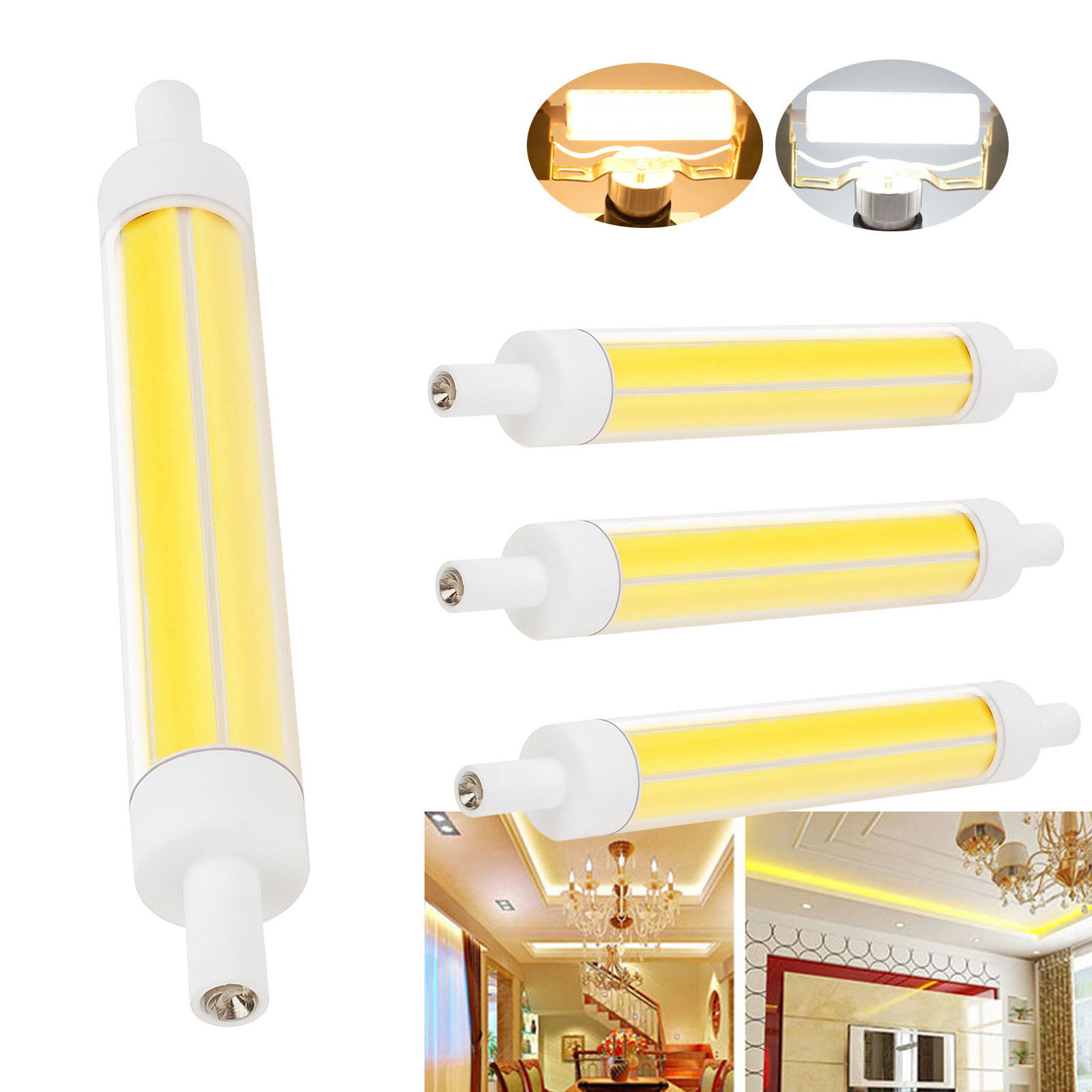 Dimmable Ampoule <font><b>R7S</b></font> <font><b>LED</b></font> COB Bulb Floodlight 15W 220V J118 <font><b>118mm</b></font> AC 220VCeramic Replace Halogen Spotlight Glass Lamp <font><b>Bombillas</b></font> image
