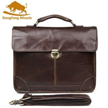 New 100% Genuine Leather Men's Business Bag Cross Body Briefcase Sling Bag Shoulder Men Messenger Bag Handbags