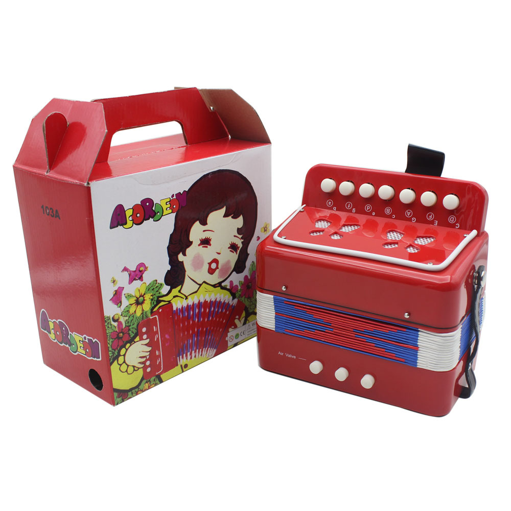 IRIN Children Toy Accordion 7 Key 2 Bass Music Toy Three-Color