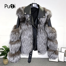 PUDI Women Real Fox Fur Coat Jacket 2020 Ins Hot female genuine Fur Parka Coats CT952