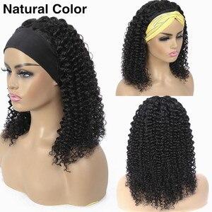 Image 3 - Peluca con diadema de cabello humano rizado para mujeres negras peluca brasileña sin pegamento, peluca completa hecha a máquina, peluca de cabello Remy barato de 30 pulgadas