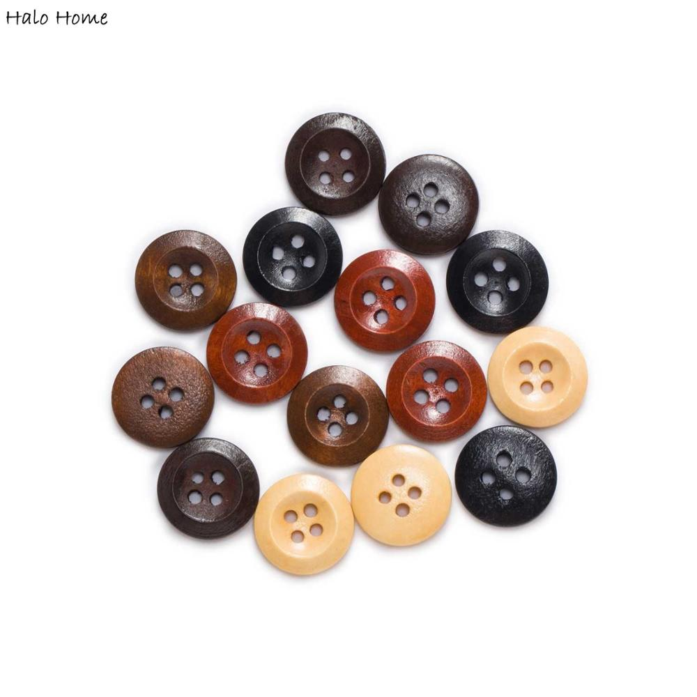 Round 4 hole Wood Buttons Sewing Scrapbook Clothing Crafts Gift handwork 10-25mm