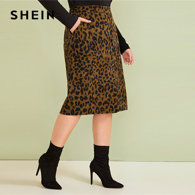 SHEIN Plus Size Leopard Print Split Front Casual Pencil Skirt Womens Bottoms 2019 Autumn Faux Fur Glamorous Straight Midi Skirts 2