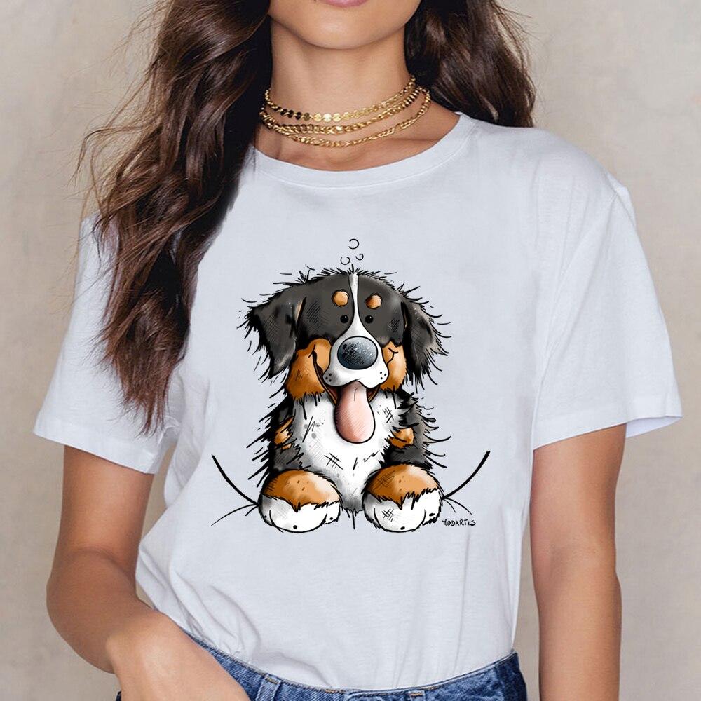 Camisetas para mujer, camiseta para perros de montaña berneses bonita, regalo para perros, camisetas divertidas con estampado de cómic para mujer