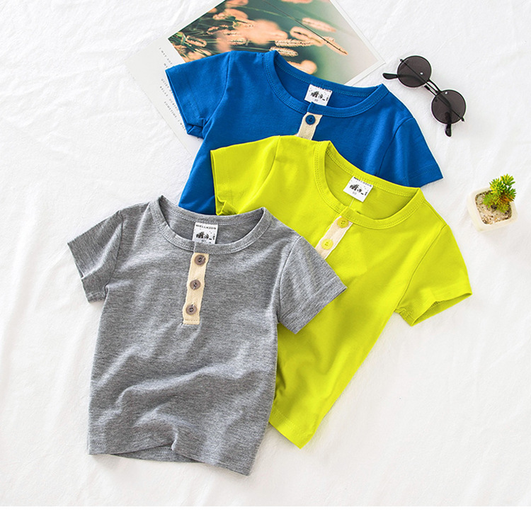 Summer Cotton Boys T-<font><b>Shirt</b></font> Kids <font><b>Basic</b></font> <font><b>Shirts</b></font> <font><b>Baby</b></font> Boys Casual Button T-<font><b>shirts</b></font> Toddler Children Tops Tee Age 2 3 4 5 6 Years image