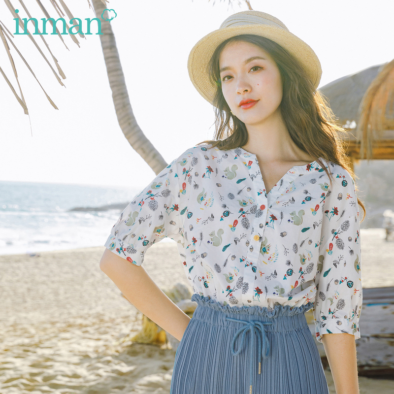INMAN 2020 New Arrival Literary Girlish Colorful Button Child Interest Animal Print Half Sleeve Blouse
