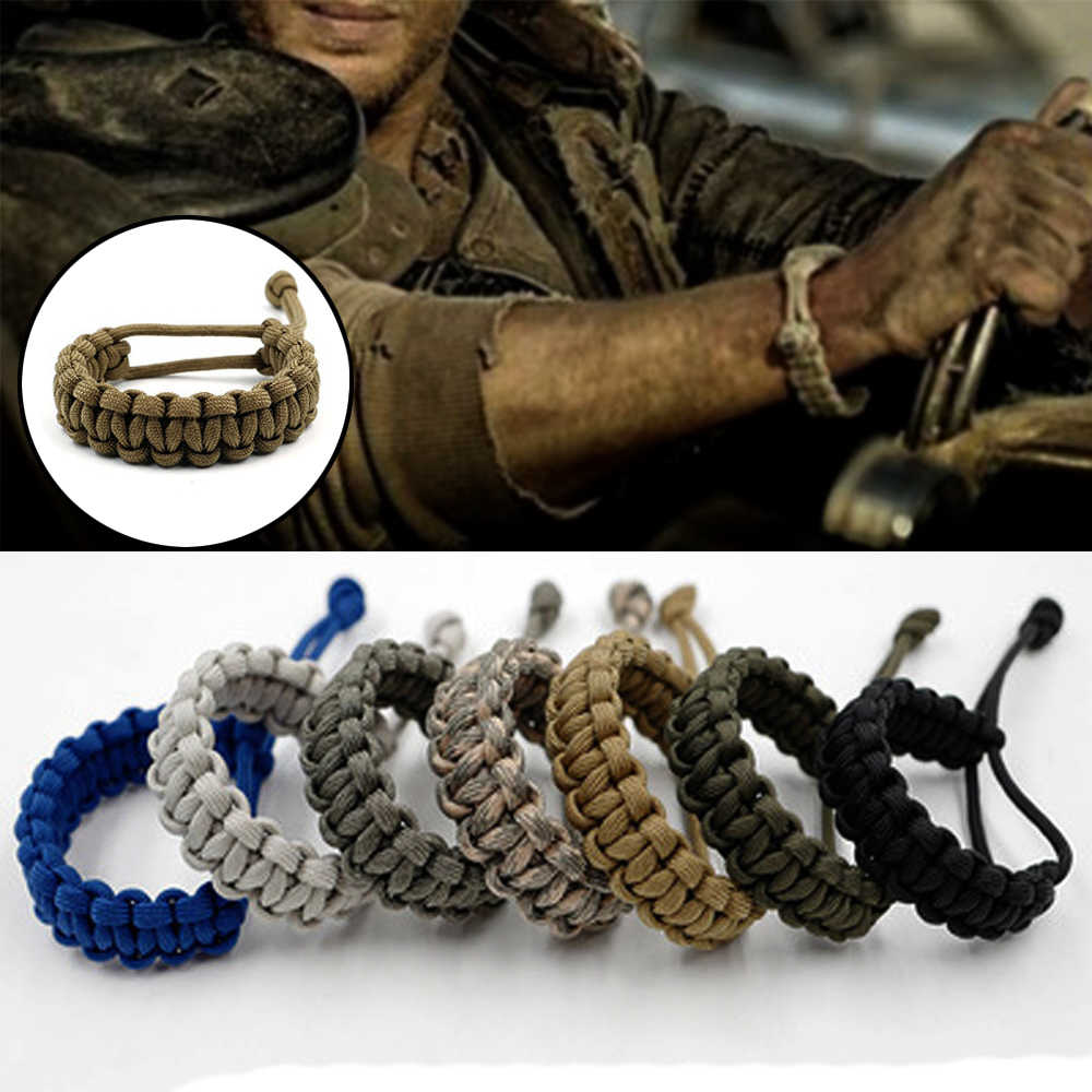 1PC 7 Warna Tenun Adjustable Survival Darurat 550 Paracord Gelang Gelang Tali Camping Hiking Outdoor Alat