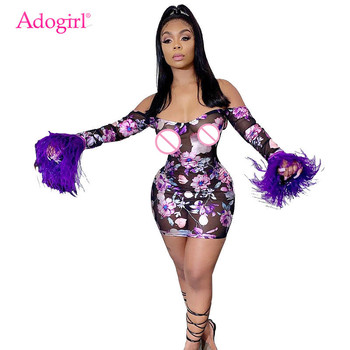 Adogirl Floral Print Sheer Mesh Bodycon Club Dress Feather Long Sleeve Off Shoulder Sheath Mini Party Dresses Women Sexy Vestido sexy off shoulder sheath velvet winter dress 2018 women party long sleeve elegant pencil bodycon dress vestido de festa gv997