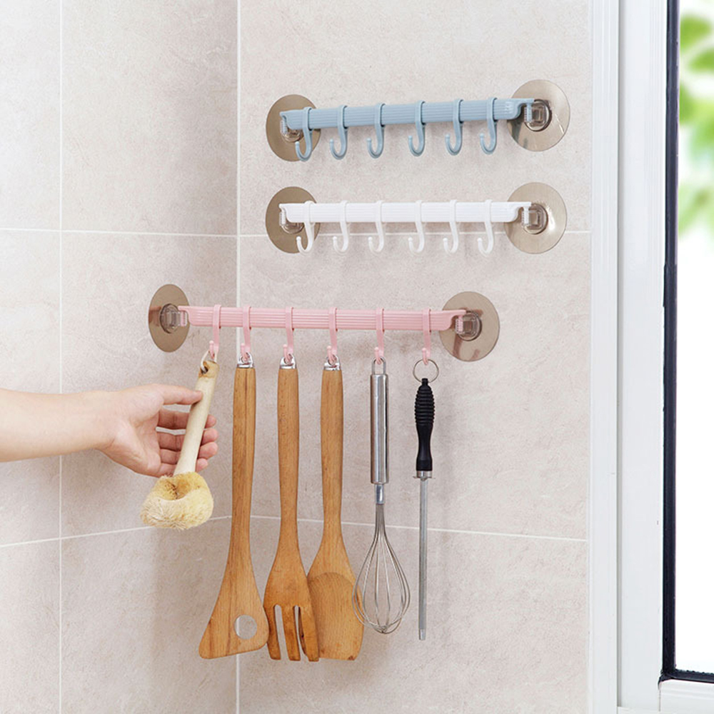 Wall Mounted Bathroom Organizer Hooks Towel Holder Key Hooks Kitchen Accessories Cupboard Storage Rack Shelf Bathroom Holder