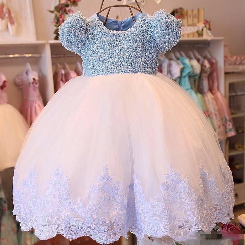 Cute Shiny Pearls Top Baby Girl Birthday Dresses Short Sleeves Puffy Skirt Flower Girl Dress Party Gowns For Kids