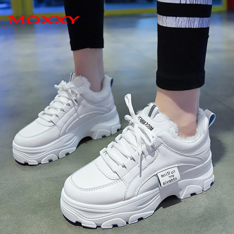 2019 New Increase Women's Winter Sneakers With Fur Warm Plush White Chunky Sneaker Platform Ladies High Heel Casual Shoes Woman