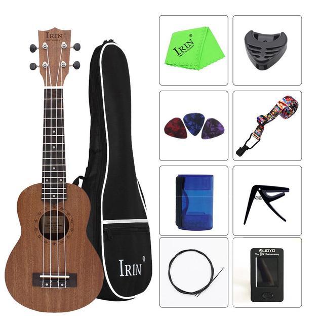 21 Inch Ukulele Soprano Ukelele Mahogany Wood with Carry Bag Uke Strap Strings Tuner Cloth Finger Maraca Picks