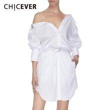 Chicever Повседневное платье для женщин с вырезом лодочкой и