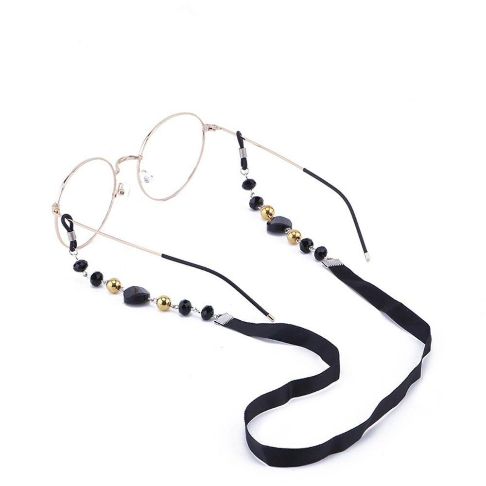 Óculos de sol feminino, óculos de sol da moda, feminino, corrente de miçangas acrílicas, preto, antiderrapante, com faixa para pescoço, óculos de leitura