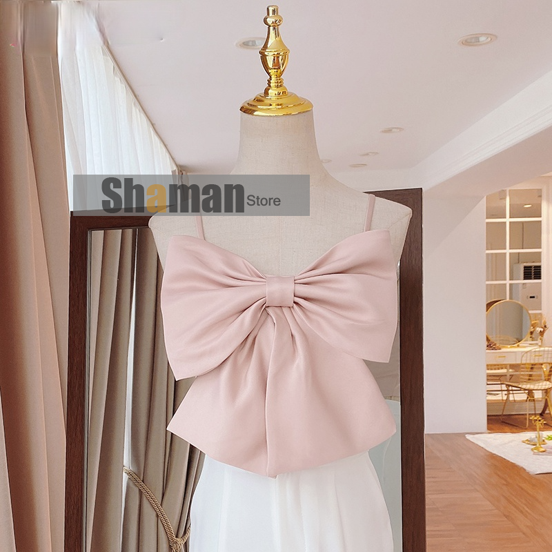 luxury designer women high end New Summer Sweet Temperament Sexy 3D Bowknot Pearl buttons Female sexy tops tees Tanks Camis