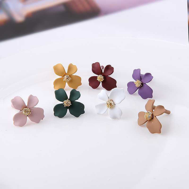 10pcs korean style cute flower stud earrings for women alloy spray paint fashion sweet earrings diy handmade jewelry accessories