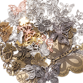50g 100g Butterfly Mixed Charms Pendants Vintage Antique Bronze Silver Bracelets Necklace Craft Metal for DIY Jewelry Making 20pcs antique silver tone charms rabbit charm pendants for jewelry making