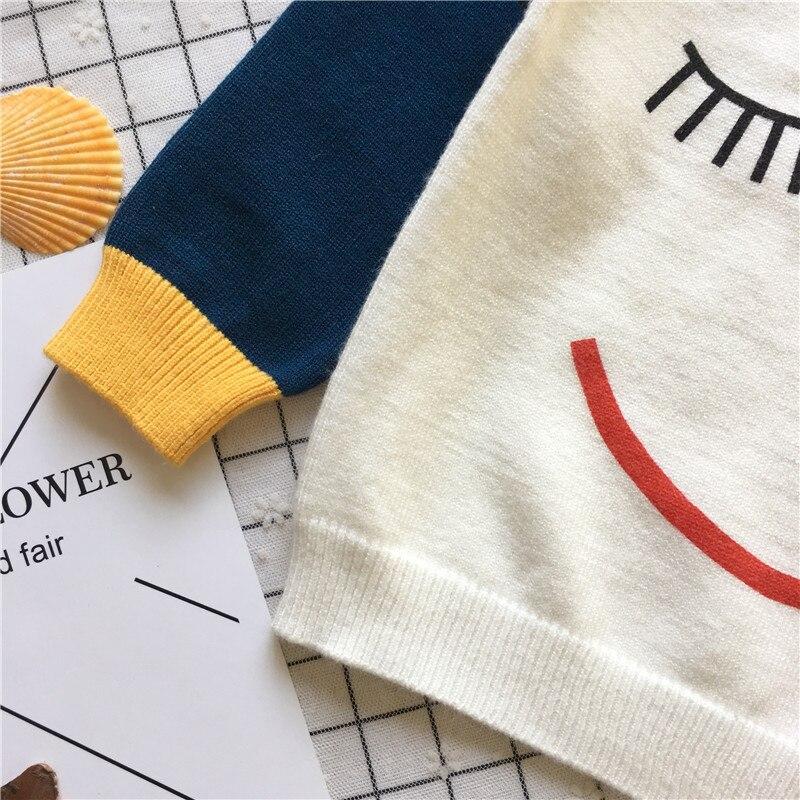 longa pulôver tripulação pescoço smiley impresso camisola de malha