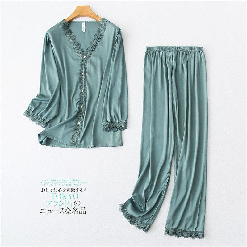 Daeyard 2020 New Silk Pajamas Sets Women Cute Shirts And Pants 2 Pcs Appliques Pijamas Girls Sweet Home Clothes Sexy Sleepwear