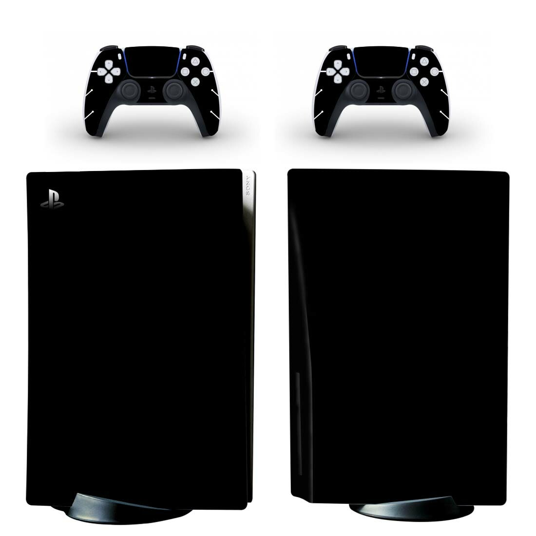 Pure Black PS5 Standard Disc Skin Sticker Decal Cover for PlayStation 5 Console and 2 Controllers PS5 Disk Skin Sticker Vinyl