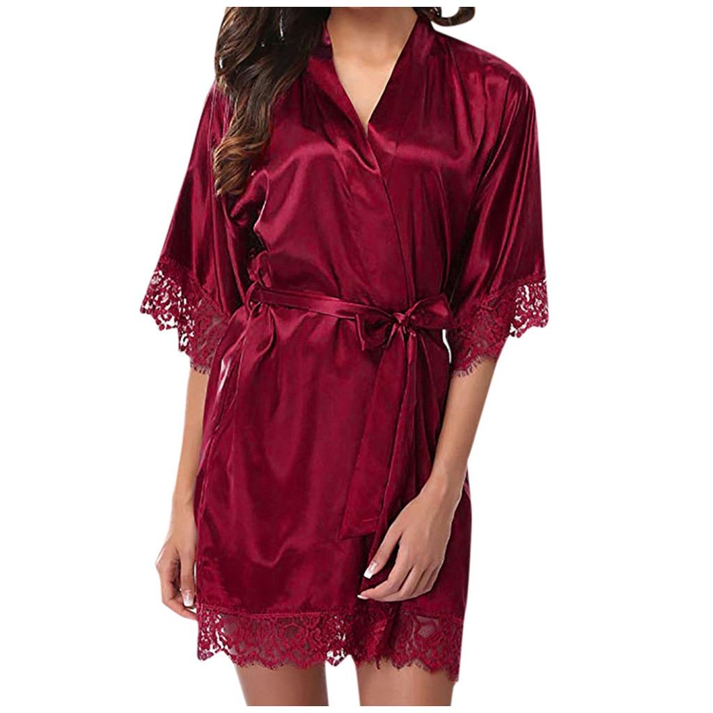 Women's Bathrobe Sexy Lace Nightgown Sleepwear Satin Nightdress Sexy Lingerie Kimono Robe Ladies Bride Bridesmaid Robe Nightwear