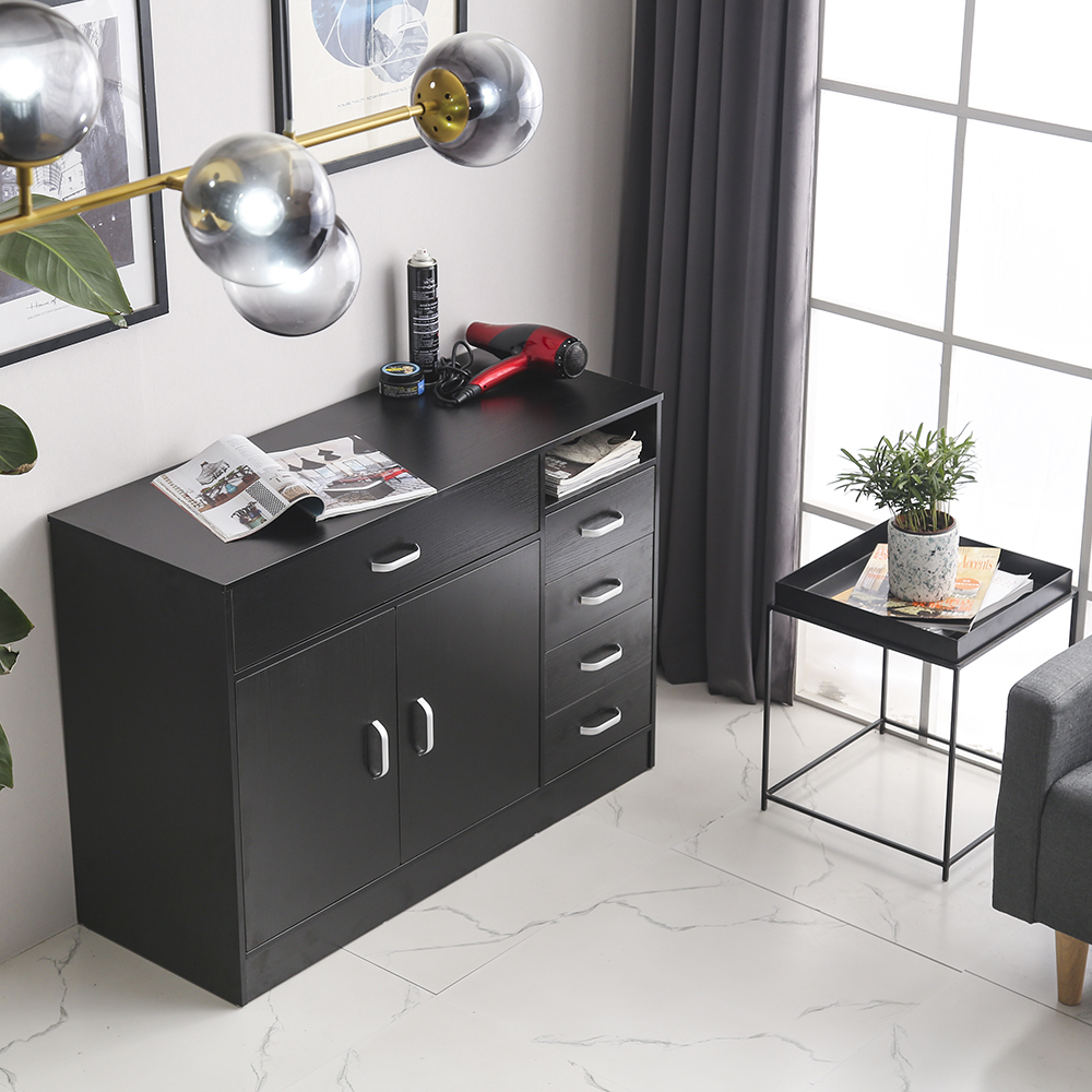 【US Warehouse】Rectangular 7 Compartments 5 Drawers 1 Door Hair Salon Cabinet  Beauty Salon, Barber Shop Free Drop Shipping USA