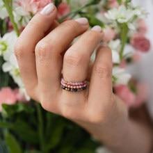 Momiji pedra natural anéis boêmio grânulo jóias multi cor artesanal moda presente feminino meninas anéis de casamento elástico ajustável