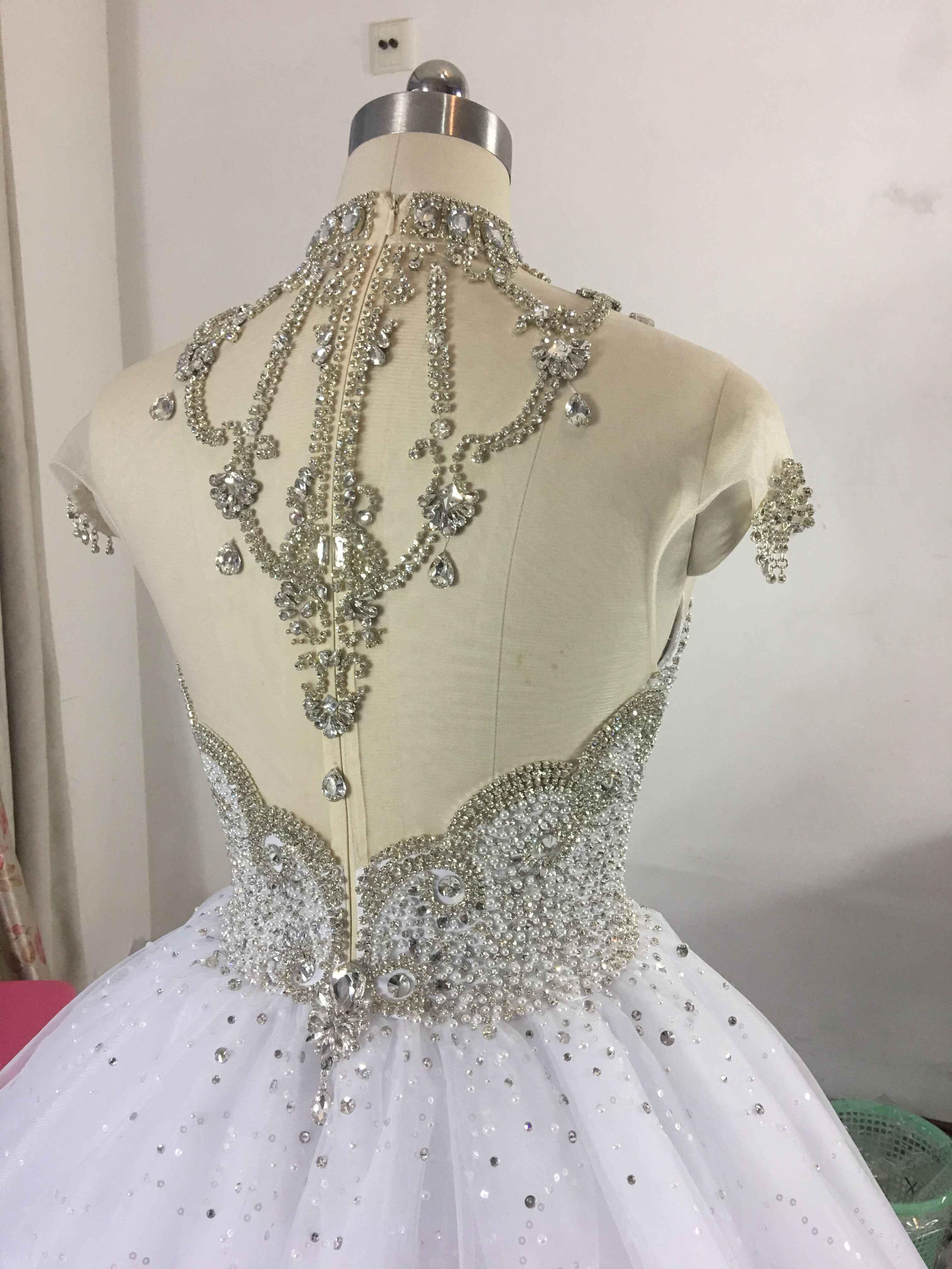 Princesa Fofo Vestido de Casamento de Luxo 2019 Vestidos de Casamento para a Noiva Plus Size Tulle Diamante De Cristal Frisada Custom Made XJ06S