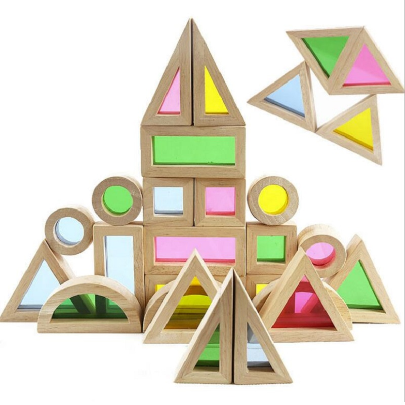 SUKIToy Ahşap oyuncak çocuk Yumuşak Montessori Gökkuşağı Renkli Ahşap Yapı Taşları Oyuncak Seti 24 ADET 6 Şekil 4 Saydam renkler