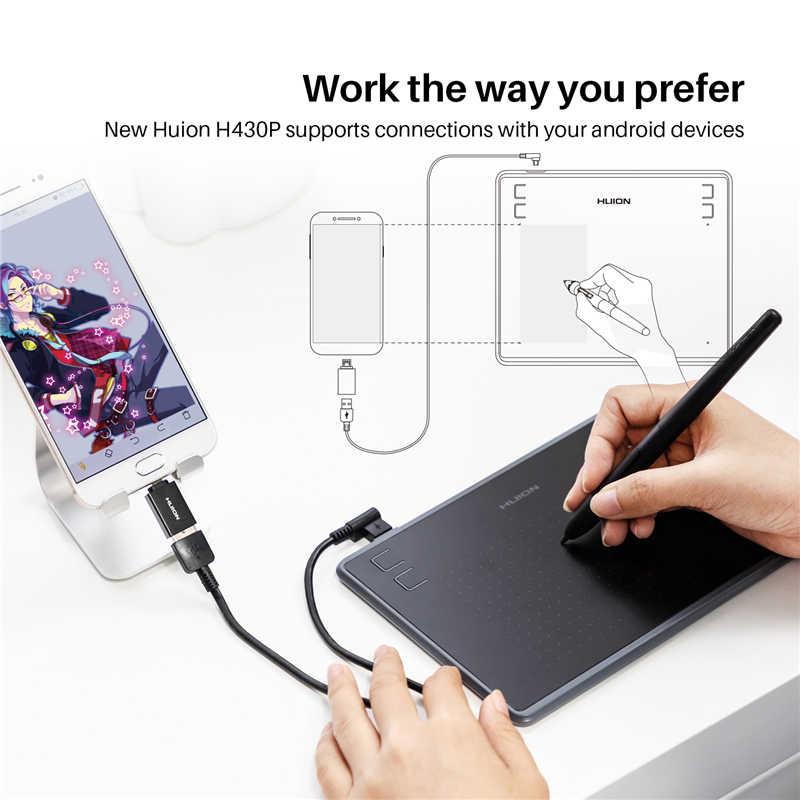 HUION H430P Digitale Tablets Micro USB Unterschrift Grafiken Zeichnung Stift Tablet OSU Spiel Batterie-Freies Tablet Mit Geschenk