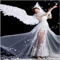 Pena branca asa diabo anjo halloween asas passarela modelo grande cosplay festa de férias asas dos homens adereços festa