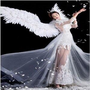 Weiße feder flügel teufel engel Halloween flügel laufsteg modell große cosplay urlaub partei männer flügel Party Requisiten