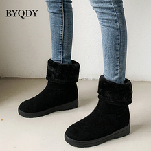 BYQDY New Fashion Suede Warm Snow Boots Shoes Winter Casual Platform Block High Heels Ankle Woman Footwear Plus Size 34-50