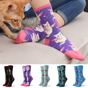 Hot Sale Colorful Women's Cotton Crew Socks Funny Banana Cat Animal Pattern Creative Ladies Novelty Socks For Gifts