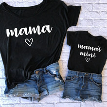 Summer Family Matching Outfits Mama and Mama's Mini Tshirt Mother Daughter Mum T-Shirt Tops Toddler Baby Kids Girls Clothes