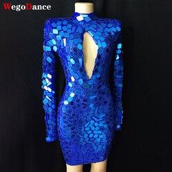 Женское ажурное платье ручной работы, Сетчатое голубое платье с зеркалами, подиум для дней рождения и танцев, короткое платье для выпускног...