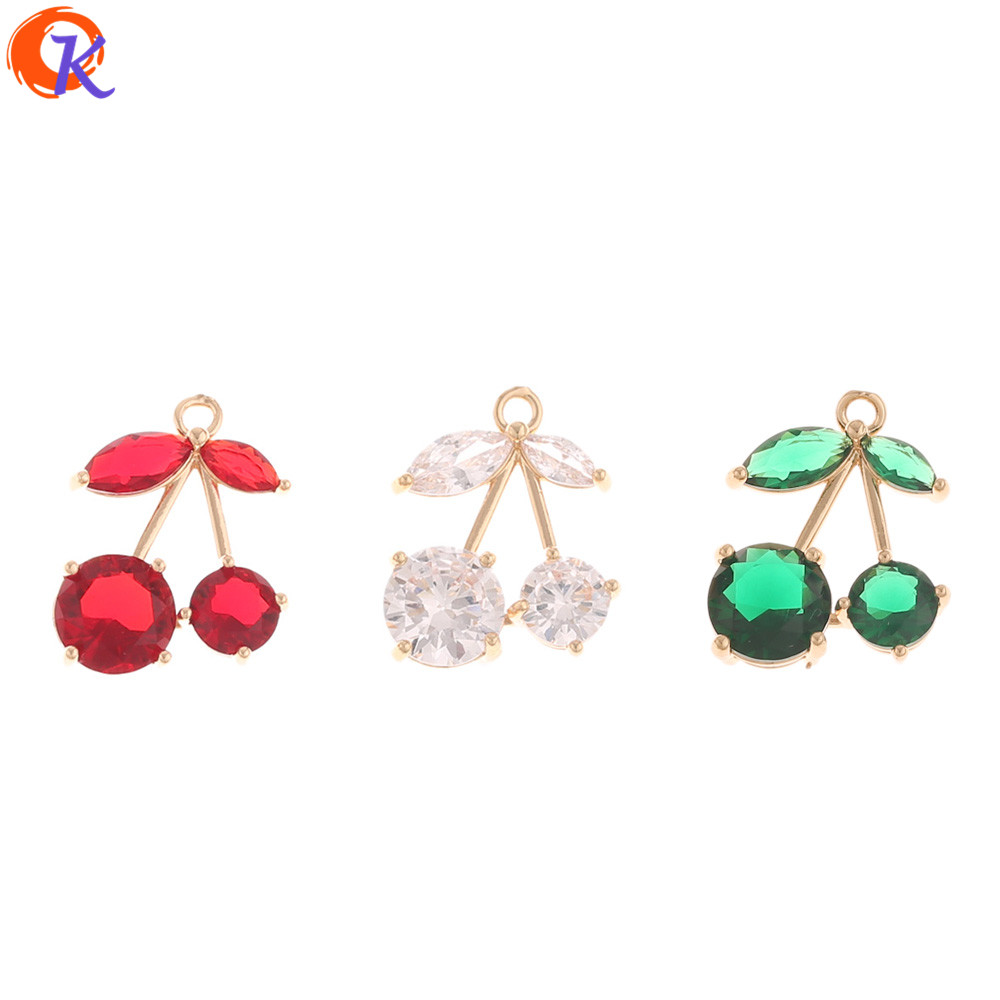Cordial Design 50Pcs 15*19MM Jewelry Accessories/Crystal Pendant/Cherry Shape/Hand Made/DIY Making/Earring Findings/CZ Charms