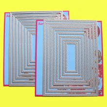"""2 セット切削ダイス 5 × 7 """"二重縫製 & クロスステッチ長方形 cardmaking & スクラップブッキング diy 紙クラフトダイス"""